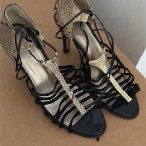 Reiss ankle wrap heels in leather and suede